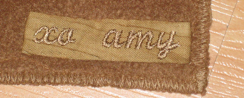 brown scarf label