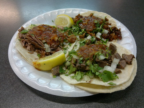 Clockwise from Bottom: Lengua, Carnitas, and Al Pastor Tacos