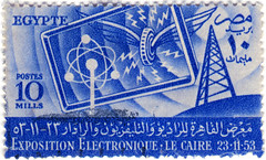 Egypt postage stamp: electronics (karen horton) Tags: blue illustration design wings stamps egypt 1950s egyptian innovation postage symbolic egypte philatelic lecaire expositionelectronique cairoelectronicsexposition