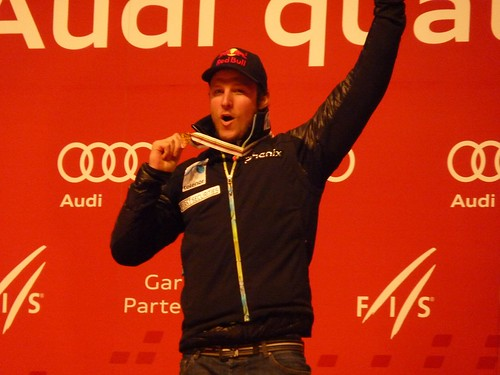 World Champion Aksel Lund Svindal - Siegerehrung Super-Kombination, Ski-WM 2011
