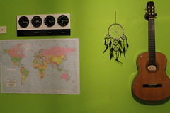 My wall (Bethany O'Donnell) Tags: home wall design bedroom paint guitar map limegreen room clocks dreamcatcher