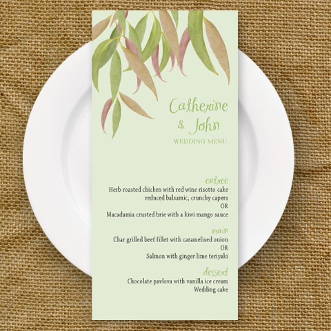 gum leaf flexible wedding menu card