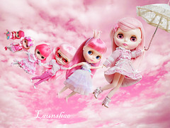 take us away to the pinkiest day! (launshae) Tags: snowflake pink girl us heaven day factory peach away peony take blythe savannah prima dolly ichigo sonata stellah pinkiest launshae