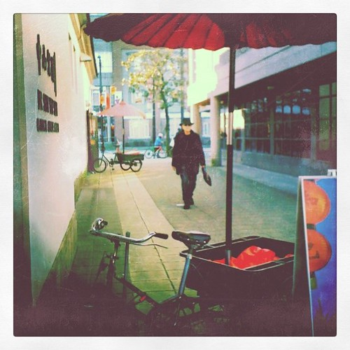 Bicycles & red umbrellas