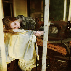 so weary (Masha Sardari) Tags: wood old sunset house vintage hair adams antique maria sewing stripes machine catherine blond rusted porch sheet masha sardari
