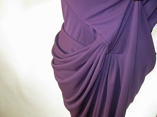 Purple drape dress close front