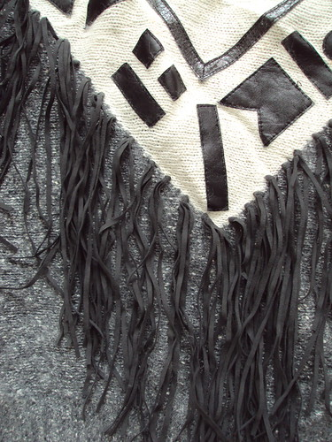 Crazy Geo and Fringe Leather Sweater (detail)