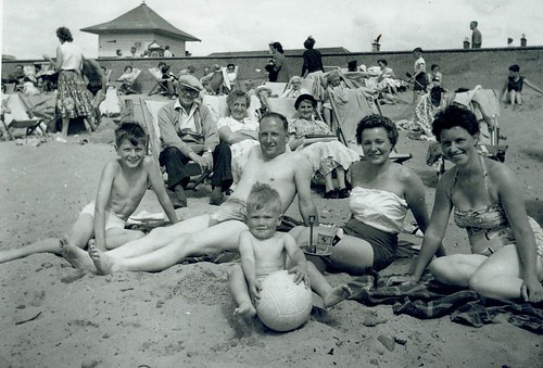 McCreath family on beach 1959