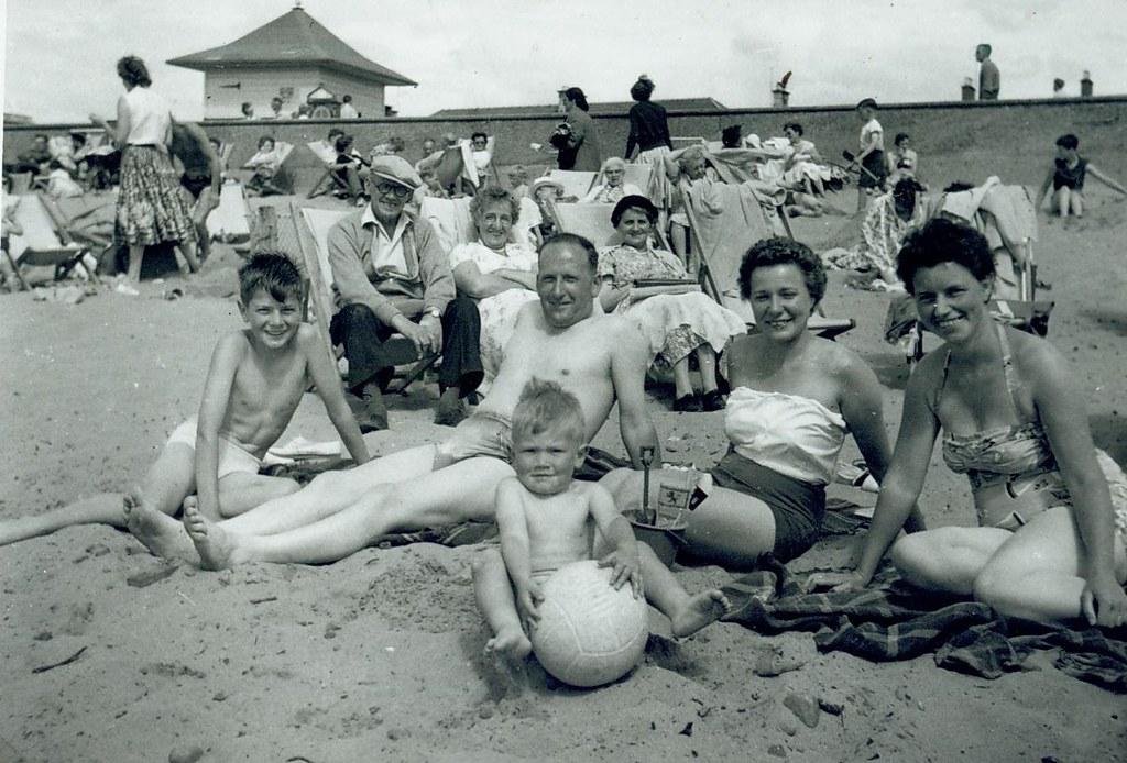 McCreath family on beach 1959