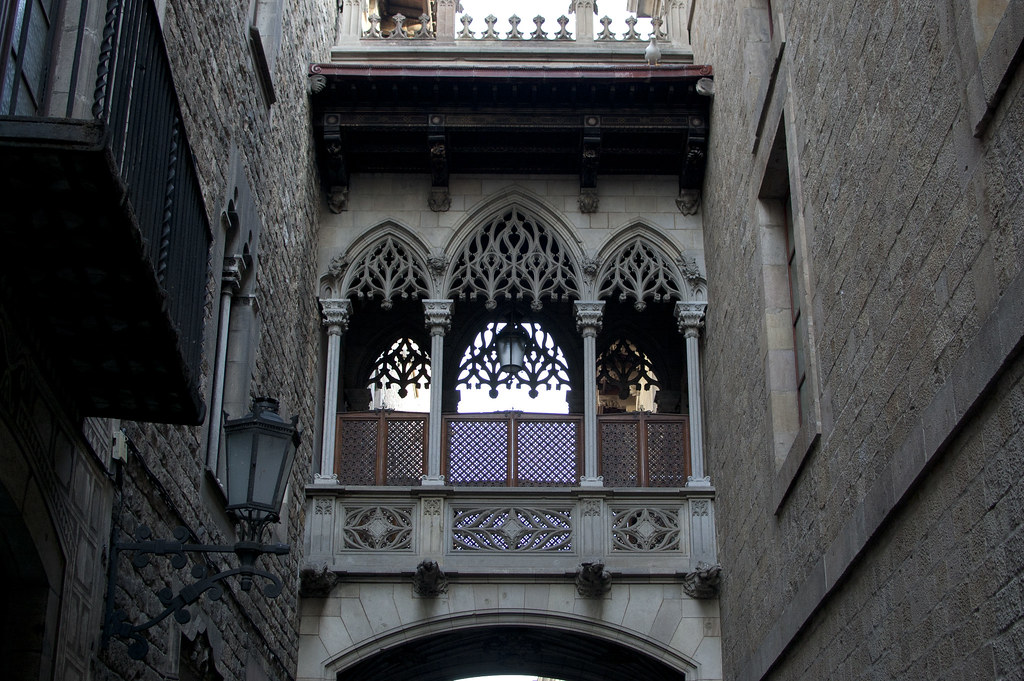 Neo-gothic bridge in Carrer del Bisbe, Barcelona. It connects the Cases dels Canonges and Generalitat de Catalunya's building,