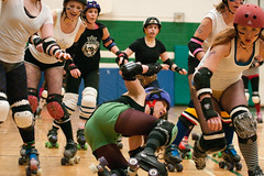 A little too close to the action! (Explored) (thomevered) Tags: ladies girls ontario canada interesting women flickr skating guelph rollerderby explore amateur derby skates royalcity wellingtoncounty flattrack amateursports killerqueens violetuprising royalcityrollergirls ourladiesofpain violetuprisingvsourladiesofpain