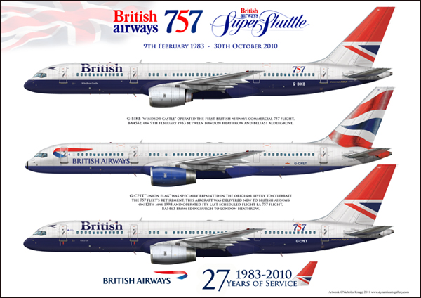 British Airways Boeing 757-236 G-BIKB G-CPET Commemorative Art