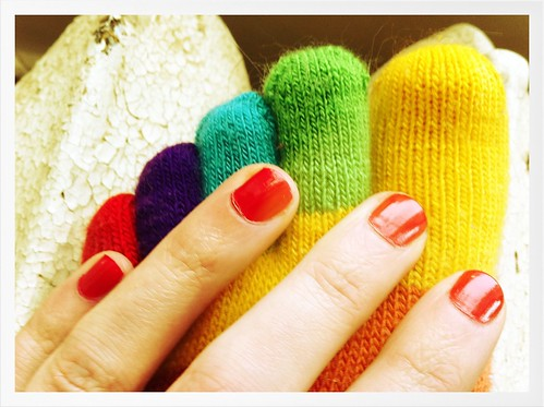 rainbow toe socks plus cherry-scented nail polish!