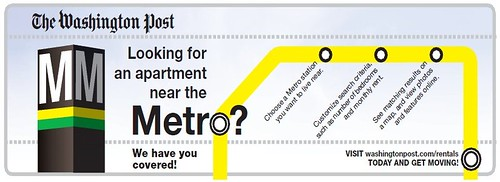 Express/Washington Post ad linking apartment searches to subway access