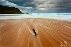 Garie Beach - Plank in the Sand (sachman75) Tags: wood longexposure morning weather clouds dawn coast waves sydney australia stormy coastal nsw stick plank royalnationalpark rushingwater gariebeach leefilters southernsydney gradnd2stop