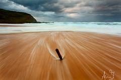 Garie Beach - Plank in the Sand (sachman75) Tags: wood longexposure morning weather clouds dawn coast waves sydney australia stormy coastal nsw stick plank royalnationalpark rushingwater gariebeach leefilters southernsydney gradnd2stop