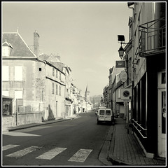 Grand Rue (1) (mikeinlagardette) Tags: blackandwhite france streets 120 6x6 monochrome architecture buildings diafine restoration agfa creuse yellowfilter rollfilm isolette solinar shanghaigp3 epsonv500 ventura66 buildingsobserved 12on120