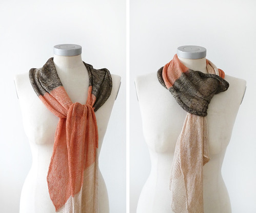 viscose cotton spring scarf -beige orange and brown