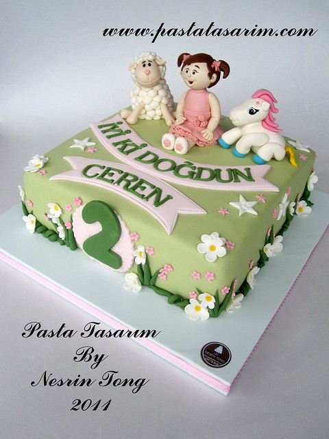 2nd BIRTHDAY CAKE - CEREN AND LAMB AND LITTLE PONY