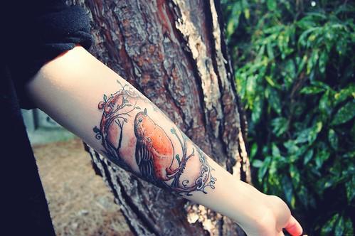 Red robin bird tattoo - photo#16