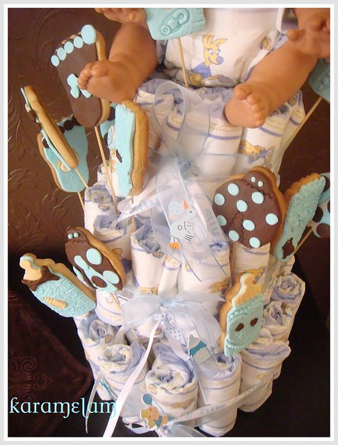 baby boy cookies and diaper cakes