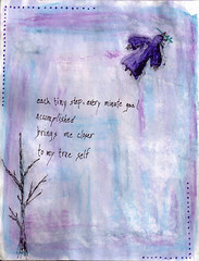 tiny step (Windy Angels) Tags: black tree green bird art feet true pen pencils self march fly words goal wings stem hands peace bare journal blues step tiny page watercolour lone each minute accomplished purples 2011 artjournalpage windyangels winnsangels wendybburton