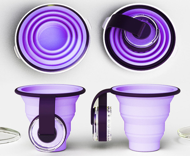 Collapsible Water Cup with Pill Dispenser