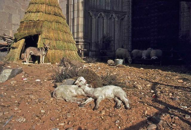Belén viviente en la fachada principal de la Catedral en Toledo hacia 1967. Fotografía de John Fyfe