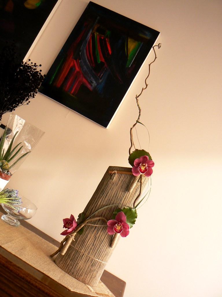 Large Arrangement Exotic Flowers in Ceramic Vase in situ
