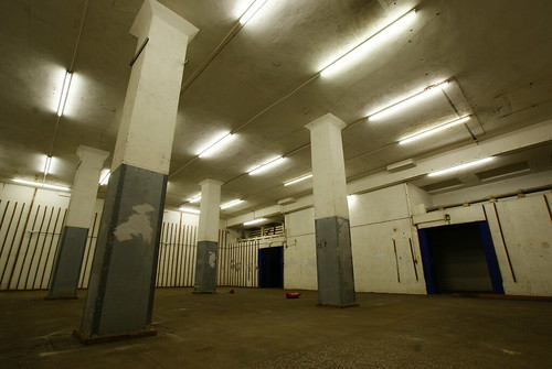 Basement of Smithfield Market, London.