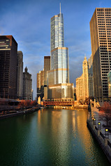 This River Runs Green... (Seth Oliver Photographic Art) Tags: chicago illinois nikon midwest skyscrapers cityscapes lakemichigan trumptower sunrises wrigleybuilding michiganavenue chicagoriver pinoy downtownchicago stpatricksday urbanscapes chicagoist chicagobuildings d90 columbusdrive handheldshot greenchicagoriver columbusdrivebridge sunriseshots aperturef90 chicagoskyscrapers sunriseinthecity cityfrontcenter setholiver1 18105mmnikkorlens circularpolarizers dusablebridge 0008secondexposure