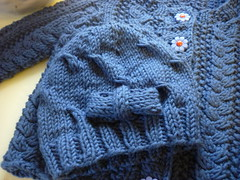 Charlotte's Ripple Hat and Tuckernuck Cardigan (bindakay) Tags: blue baby twist cables bow easy beanie cardigan cardi beany perfectly tuckernuck karabella aurora8 daisybuttons easie