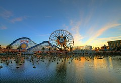 Sunset on Paradise Pier... (Ring of Fire Hot Sauce 1) Tags: sunset disneyland bluesky mickeymouse hdr disneycaliforniaadventure californiascreamin photoshopelements paradisebay paradisepier photomatix mickeysfunwheel