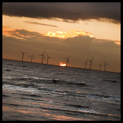 Axis, Crosby (Ianmoran1970) Tags: sunset sea orange cloud sun water wave windfarm turbines ianmoran ianmoran1970