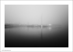 Manchester Ship Canal (Ian Bramham) Tags: bridge blackandwhite bw mist water fog reflections manchester photography photo nikon fineart manchestershipcanal d700 ianbramham welcomeuk