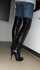 A tuesday evening at home (Rosina's Heels) Tags: leather high boots thigh heels overknee