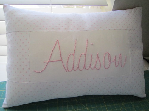 Hand embroidered baby pillow