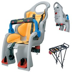 Topeak Babysitter with rack, $145; 20-40 lbs., 1-4 years old