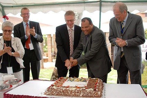 Cutting the cake at launch of the Bio-Innovate program