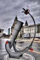 Liverpool Discovers with the Liver Building (Tony Shertila) Tags: england liverpool europe britain telescope sculture johnlennon hdr merseyside liverbuilding heavenandearth liverpooldiscovers solarsystemhdr
