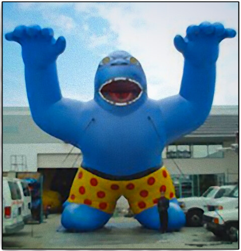 Blue Gorilla Inflatable in Boxer Shorts