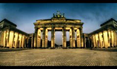 The Gate of Berlin (Marcus Klepper - Berliner1017) Tags: morning blue light sunset people panorama berlin wall night clouds germany deutschland licht gate nacht unterdenlinden himmel wolken sigma ps fisheye 7d tor brandenburgertor sonnenaufgang mitte dri hdr tiergarten haeven verkaufen menschenleer pariserplatz sulen wahrzeichen 10mm sehenswrdigkeit photomatix tonemapping
