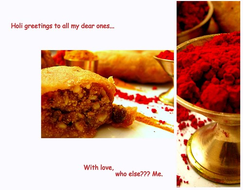 Holi greetings 2011/Gujia Recipe by {deepapraveen very busy with work..back soon