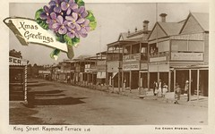 Christmas Postcard of King Street, Raymond Terrace, NSW, Australia [c.1920s] (Cultural Collections, University of Newcastle) Tags: christmas postcard australia nsw kingstreet shoeshop krohn tobacconist dennett hunterriver raymondterrace christmaspostcard newcastleandhunterdistricthistoricalsociety a8806p0961