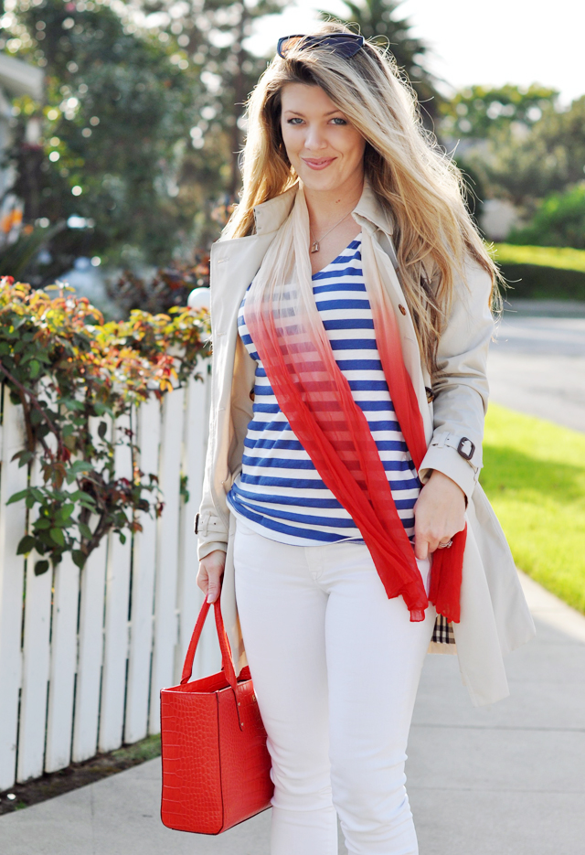 burberry trench coat, nautical look, white jeans, red bag, kate spade bag, tote bag, blue and white stripes, striped tank, long blonde hair, tiffany silver necklace, DSC_0517