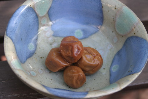 Kazuko's umeboshi plum with our blue bowl IMG_5963