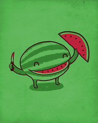 A Happy Slice of Life (randyotter) Tags: red green art water fun happy design knife watermelon shirts otter randy tshirts threadless melon tee teeshirts tees randyotter
