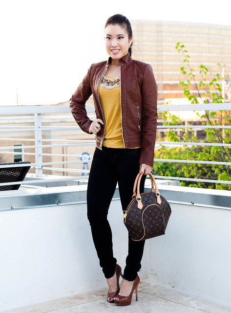 express quilted faux leather jacket j. crew embellished mustard tank j. brand 10 skinny jeans aldo whitsey louis vuitton ellipse