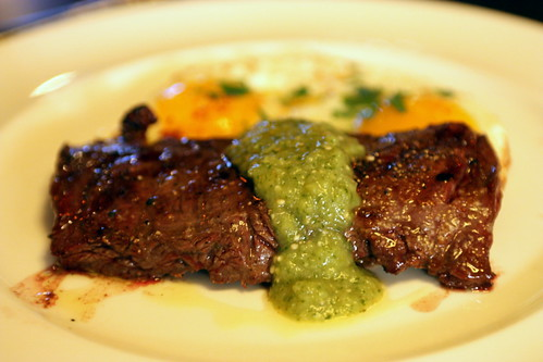 Chargrilled Skirt Steak with Green Sauce and Fried Eggs