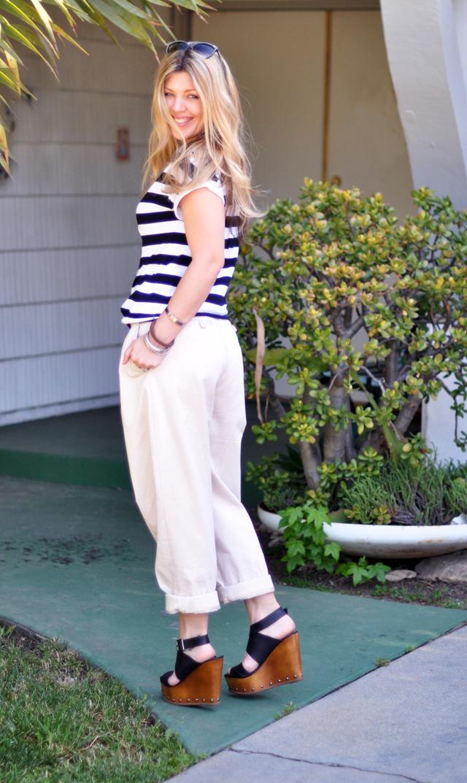 black  and white  stripes  and khaki pants wedges